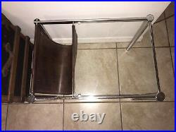 Vintage Mid Century Modern Chrome and Glass Sling Magazine Rack and End Table