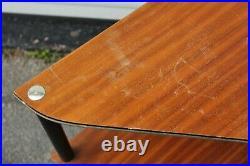 Vintage Mid Century Modern Corner Shelf Triangle Table Gold Edge 60s 70s Retro