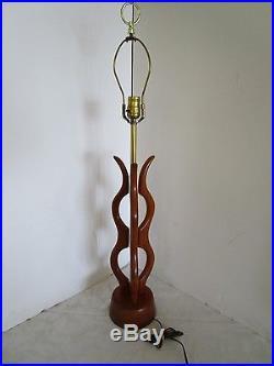 Vintage Mid Century Modern Free Form Danish Style Wood Table Lamp 36Tall Retro