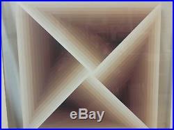 Vintage Mid Century Modern Geometric Abstract Painting Framed Retro Art 33x33