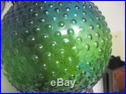 Vintage Mid Century Modern Hanging Green Blue Glass Swag Light Retro hobnail