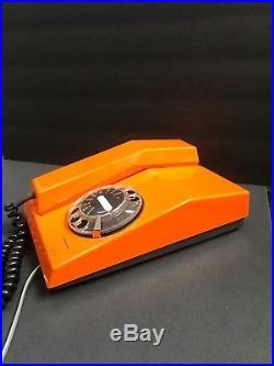 Vintage Mid Century Modern ITT Bright Orange Black Rotary Dial Telephone retro