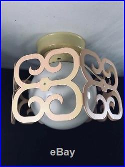 Vintage Mid Century Modern Light Art Deco Globe Ceiling Fixture Retro Lamp Rare