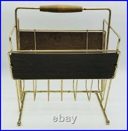 Vintage Mid-Century Modern Magazine Holder Stand Rack Bathroom Retro Atomic Wood