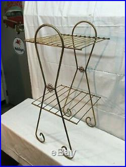 Vintage Mid Century Modern Metal Wire Record Stand 2 Tier Atomic Retro