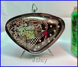 Vintage Mid Century Modern Retro Green Triangle Alarm Clock Wind Up Type -Nice