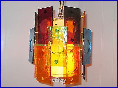 vintage mid century modern retro hanging swag lamp light colorful