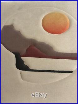 Vintage Mid Century Modern Retro Signed Michael Original Fabric Art 24 X 24