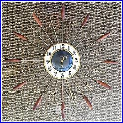 Vintage Mid Century Modern Retro Starburst Atomic United 79 WALL CLOCK Sunburst