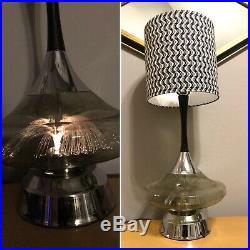 Vintage Mid Century Modern Space Age Fiber Optic In Glass Table Lamp Light Retro