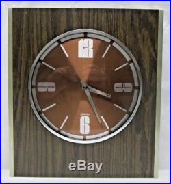 Vintage Mid Century Modern Sunbeam Wall Clock Retro Faux Wood Grain Chrome MCM