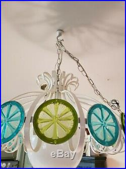 Vintage Mid Century Modern Swag Lamp Light Hanging Retro Teal Green White Chain