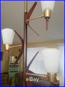Vintage Mid Century Modern Tension Pole Floor Lamp 1960s Retro Teak