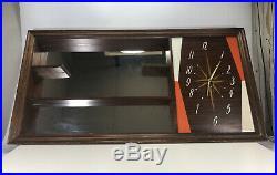 Vintage Mid Century Modern Turner Wall Accessory Shadowbox Mirror Clock Retro
