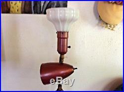 Vintage Mid Century Modern floor POLE LAMP bullet Cone MCM retro light shade