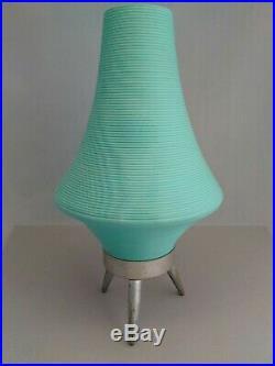 Vintage Mid Century Modern turquoise green Cone Beehive UFO tri-pod Lamp RETRO