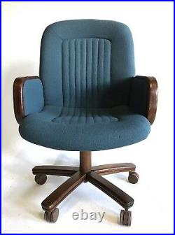 Vintage Mid Century Office Chair Blue Wood Danish Modern Ferrari Adjustable Tilt