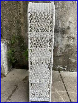 Vintage Mid Century Plant Stand Boho Chic White Wicker Rattan Shelf Book Case