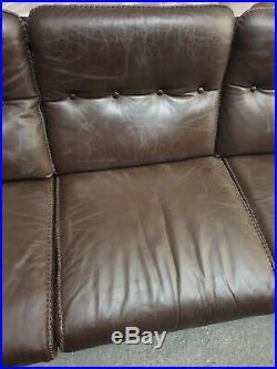 Vintage Mid Century Retro Danish Leather 3 Seater Sofa