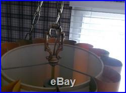 Vintage Mid Century Retro Hanging Swag Ceiling Light Lamp With Shade
