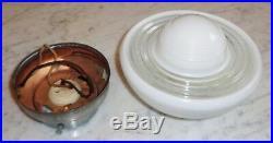 Vintage Mid Century Retro Light Fixture w White & Clear Bullseye Glass Globe