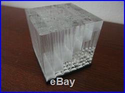 Vintage Mid Century Retro Lucite Cube Sculpture Vasarely or Mari Style