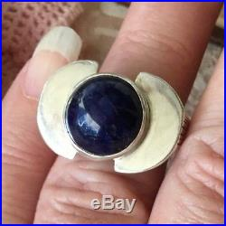 Vintage Mid Century Retro Modernist Sterling Silver Mod Ring Lapis Lazuri size N