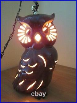 Vintage Mid Century Retro Owl Swag Hanging Light Pottery 16 Tall Retro