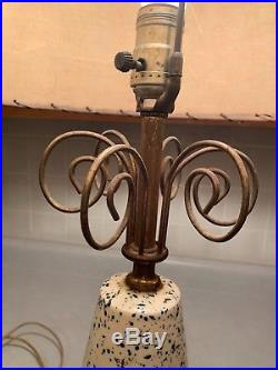 Vintage Mid-Century Retro Table Lamp with Two Tier Fiberglass Shade Nice