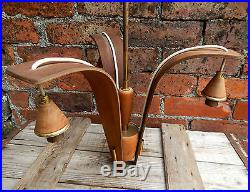 Vintage Mid Century Retro Triple Arm Ceiling Light Wood Modernist Chandelier