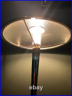 Vintage Mid Century Space Age Gold Satin Metal Table Lamp with Dimmer Control