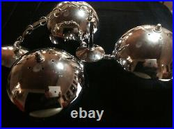 Vintage Mid Century Space Age Modern Pendant Tri-Globe Lamp Chrome Metal