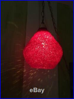 Vintage Mid Century Spaghetti Lamp Hanging Swag Light Lucite Red SHADE ONLY #1