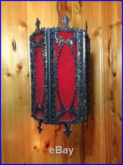 Vintage Mid Century Swag Lamp Gothic RED Hollywood Regency Pendant Velvet