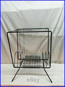 Vintage Mid Century Table Shelf Vinyl Record Stand Rack Wire Metal Atomic Retro