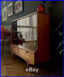Vintage Mid Century Teak Display Cabinet Compact Sideboard Bookcase Retro Uk Del