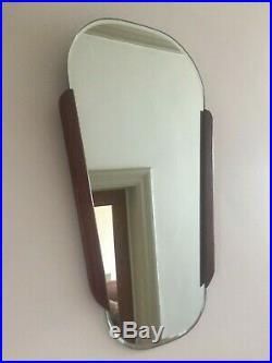 Vintage Mid Century Teak Wall Mirror Retro Clark Eaton Original Label 57cm m242