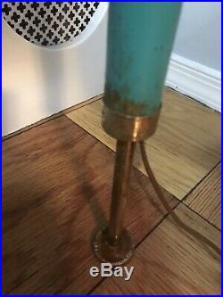 Vintage Mid Century Tension Pole Lamp 3 Lights MCM RETRO Blue TEAL Wood Metal
