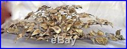 Vintage Mid Century Torch Cut Brass/Metal Leaf/Leaves Wall Sculpture Art Retro