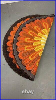 Vintage Mid Century Verner Panton Rya Style Shag Pile Round Rug 45
