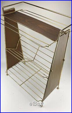 Vintage Mid Century Wire Magazine Book Stand Plant Shelf Rack MCM Wood Gold