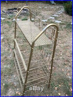 Vintage Mid Century Wire Rack Plant Stand Large Store Display Shelf Shoe Rack