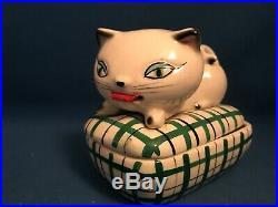 Vintage Midcentury Modern Howard Holt Ceramic Trinket Box Cozy Kitten Japan