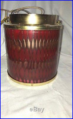 Vintage Moe Light Honeycomb Red Gold Retro Mid Century Modern Flush Mount Light