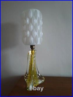 Vintage Murano Mid Century Glass Lamp Original 1960s/70s Plastic Shade Retro MCM