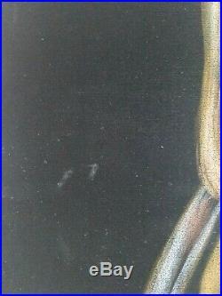 Vintage Nude Woman Black Velvet Painting mid century girl pinup signed retro EC