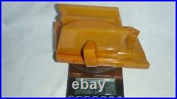 Vintage Old Amber Bakelite / Catalin. Marble Desk Set. 953 grams