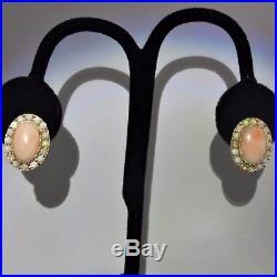 Vintage Opal Angel Skin Coral 14k Yellow Gold Estate Earrings Mid Century Retro