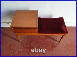 Vintage Original Chippy Mid Century Teak Telephone Table Seat