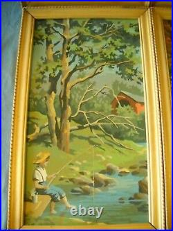 Vintage Paint By Number 4 Seasons Winter Spring Summer Fall Framed MID Century